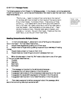Chapter 4 Passage Focus for Of Mice and Men - Common Core Ready