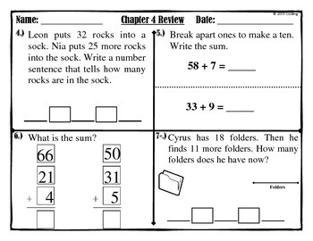 """Chapter 4 Review """"Go Math""""  2nd Grade"""