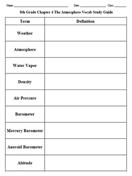 Chapter 4 - The Atmosphere Vocabulary Study Guide