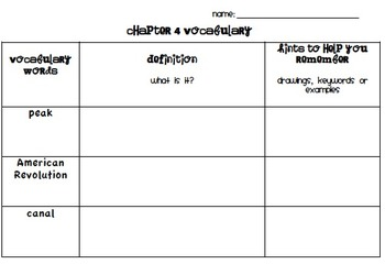 Chapter 4 Vocabulary Chart Social Studies Alive! Grade 4