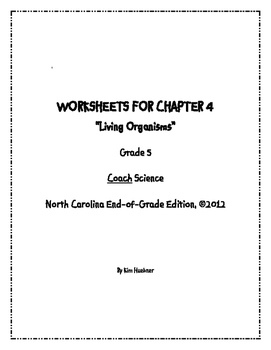 Chapter 4 Worksheets - 5th Grade Coach Science book - North Carolina Edition