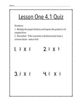 Chapter 4.1 Quiz - Math In Focus - 5th Grade