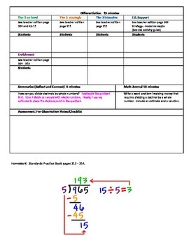 Chapter 5 Lesson 4 Grade 5 Go Math Lesson Plan