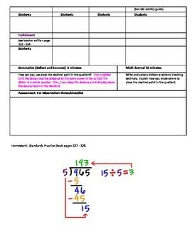 Chapter 5 Lesson 6 Grade 5 Go Math Lesson Plan