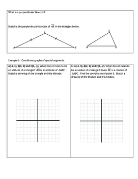 Geometry Notesheets: Chapter 5 Special Segments in Triangles