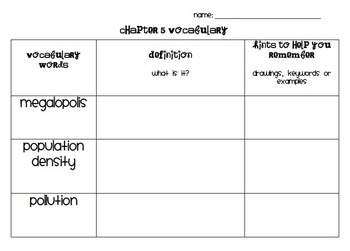 Chapter 5 Vocabulary Chart Social Studies Alive! Grade 4
