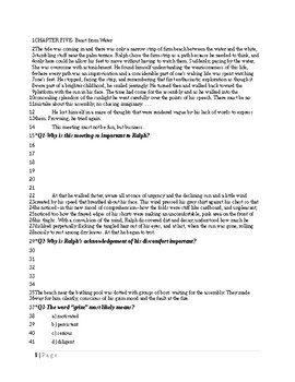 Chapter 5 of Lord of the Flies with comprehension questions throughout