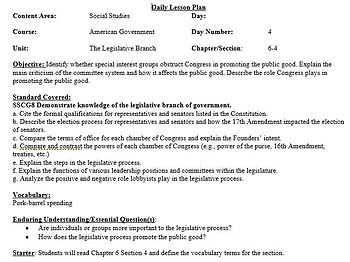 Chapter 6-American Government and Civics-Congress at Work Lesson Plans