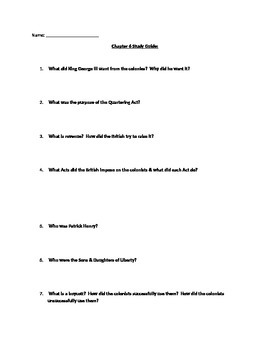 Chapter #6 Creating America Study Guide