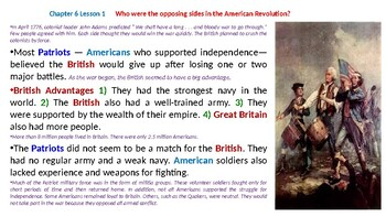 """McGraw Hill US History Chapter 6 Powerpoint """"The America Revolution"""""""