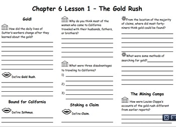 Ch. 6  California Gold Rush Notes Bundle Lesson 1-3