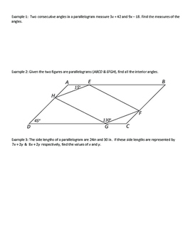 Geometry Notesheets: Chapter 6 Quadrilaterals