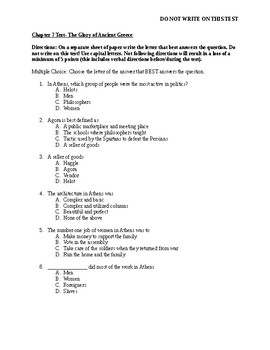 Chapter 7: Glory of Ancient Greece Test