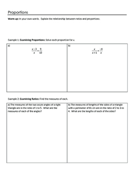 Geometry Notesheets: Chapter 7 Similarity