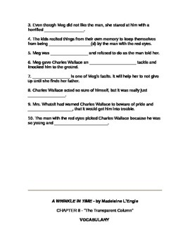 Chapter 7 and 8 Questions for A Wrinkle in Time