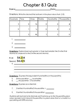 Chapter 8.1 Quiz 5th Grade (Used with Math In Focus)