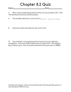 Chapter 8.2 Quiz 5th Grade (Used with Math In Focus)
