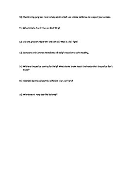 Chapter 8, 9, 10 The Outsiders Quiz