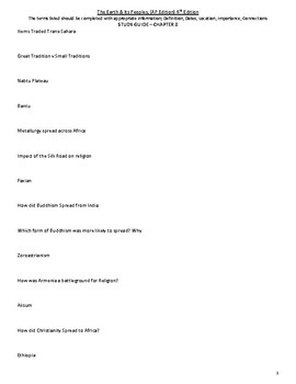 Chapter 8 Study Guide - The Earth & Its Peoples 6th Ed