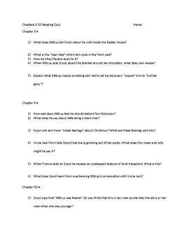 Chapter 8 through 10 To Kill a Mockingbird Test or Quiz