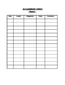 Chapter Assignment Sheet