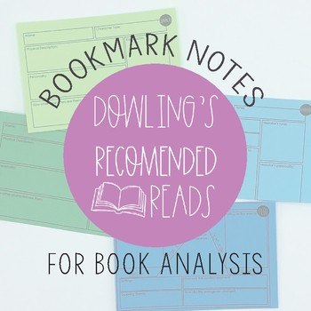 Chapter Book Analysis Guided Note Bookmarks