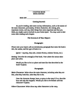 chapter book book report format with rubric by love and laugh