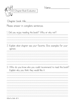 Chapter Book Evaluation Reading Response Freebie!