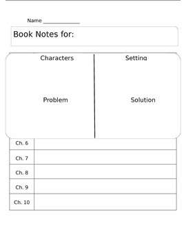 Chapter Book Notes