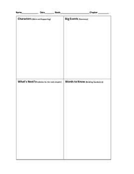 Chapter Book Notes Template