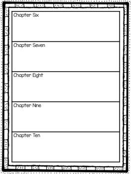 Chapter Book Outline Graphic Organizers