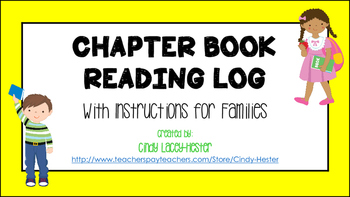 Chapter Book Reading Log with Instructions for Families