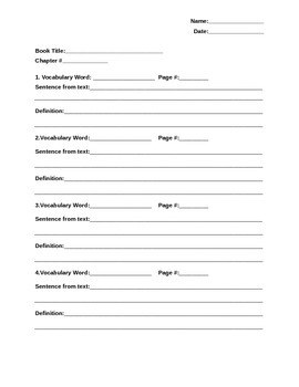 Chapter Book Response Worksheet
