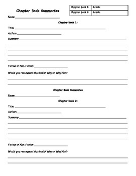 Chapter Book Summaries