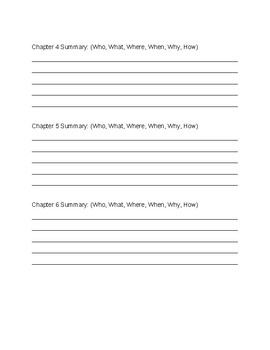 Chapter Book Summary Organizer