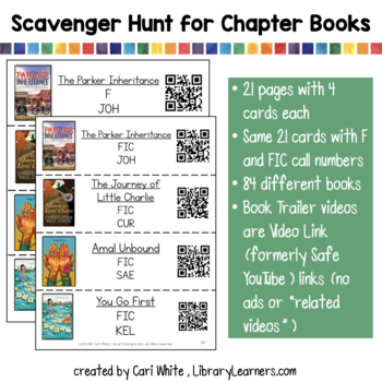 Chapter Book Trailer Library Scavenger Hunt with QR Codes