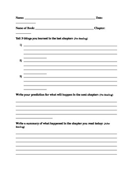 Chapter Book worksheet