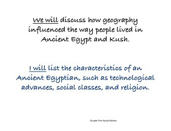 Chapter Five Social Studies Framing the Lessons Ancient Egypt and Kush