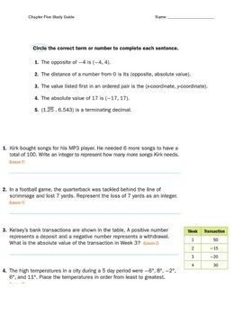 Chapter Five Study Guide Mathematics McGraw Hill