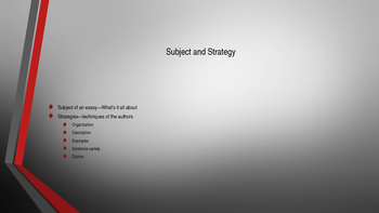 Chapter One PowerPoint Subject & Strategy