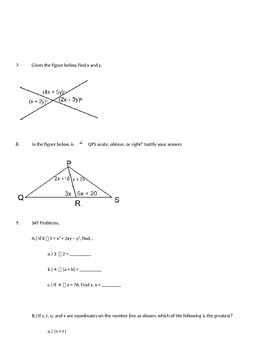 Chapter One Review: Honors Geometry