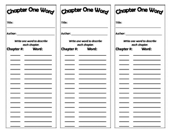 Chapter One Word Bookmarks