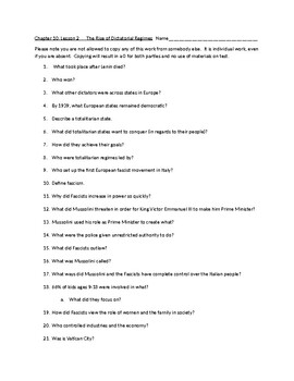 Chapter Questions CH 10, LESSON 2 McGraw Hill IMPACT: The Modern World