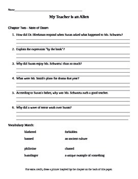 Chapter Questions - My teacher is an Alien - Bruce Coville (No Key)