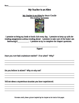 Chapter Questions - My teacher is an Alien - Bruce Coville
