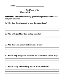 Chapter Questions - Wizard of Oz - L. Frank Baum (no Key)