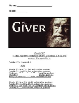 Chapter Questions for The Giver by Lois Lowry
