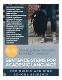 Sentence Stems for Academic Language (Secondary)