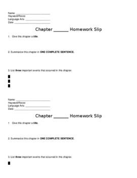 Chapter Summary Homework Slip