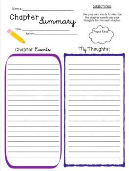 Chapter Summary Template by Cathryn Elliott | Teachers Pay Teachers